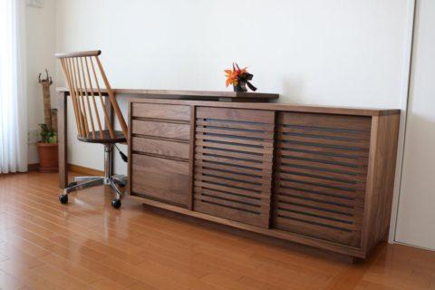 ウォールナット無垢材,desk&cabinet,アイキャッチ